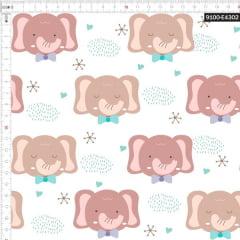Tecido Tricoline Estampado Digital Elefante de Gravata 9100e4302