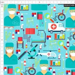 Tecido Tricoline Estampado Digital Emergência Hospitalar 9100e3490