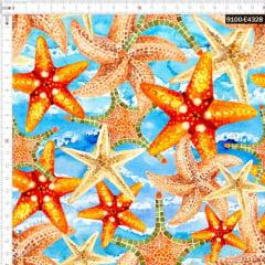 Tecido Tricoline Estampado Digital Estrelas do Mar 9100e4328