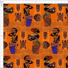 Tecido Tricoline Estampado Digital Étnico Africanas e Vasos 9100e4215