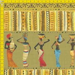 Tecido Tricoline Estampado Digital Étnico Africanas e Vasos  9100E745