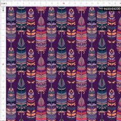 Tecido Tricoline Estampado Digital Étnico Penas Indígenas 9100e4230