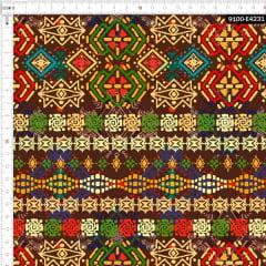 Tecido Tricoline Estampado Digital Étnico Pinturas Tribais 9100e4231