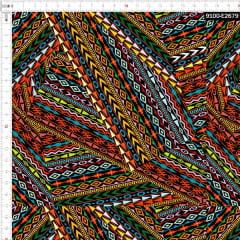 Tecido Tricoline Estampado Digital Geométrico Africano 9100e2679