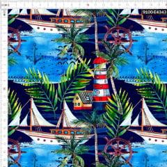 Tecido Tricoline Estampado Digital Náutico Tropical 9100e4343