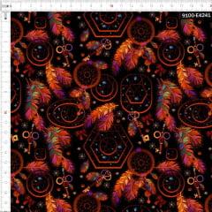 Tecido Tricoline Estampado Digital Filtro de Sonhos Fundo Preto 9100e4241