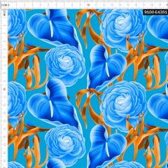 Tecido Tricoline Estampado Digital Floral Antúrio Azul 9100e4351
