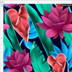 Tecido Tricoline Estampado Digital Floral Antúrio e Folhas Tropical 9100e4337