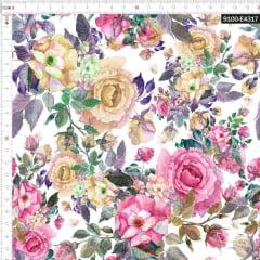 Tecido Tricoline Estampado Digital Floral Aquarelado Branco 9100e4317
