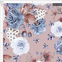 Tecido Tricoline Estampado Digital Floral Cinza 9100e3468