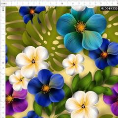Tecido Tricoline Estampado Digital Floral Colorido e Costela de Adão 9100e4332