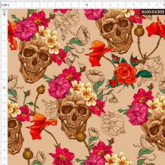 Tecido Tricoline Estampado Digital Floral com Espinhos e Caveiras Bege 9100e4309