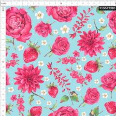 Tecido Tricoline Estampado Digital Floral e Morangos 9100e3285