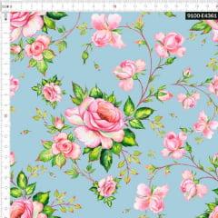 Tecido Tricoline Estampado Digital Floral Rosa claro e Ramos Azul Bebê 9100e4361
