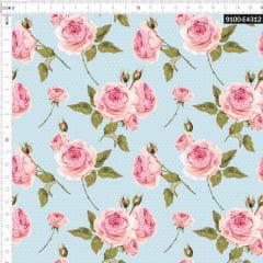 Tecido Tricoline Estampado Digital Floral Rosa e Bolinhas Azul 9100e4312