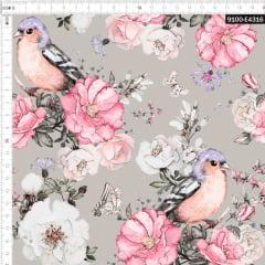 Tecido Tricoline Estampado Digital  Floral Rosa e Branco e Aves Lilás 9100e4316