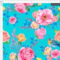 Tecido Tricoline Estampado Digital Floral Rosa e Pássaros 9100e4344