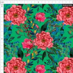 Tecido Tricoline Estampado Digital Floral Rosa e Ramos Fundo Verde 9100e3281