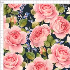 Tecido Tricoline Estampado Digital Floral Rosa Fundo Marinho 9100e3472