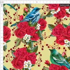 Tecido Tricoline Estampado Digital  Floral Rosas e Aves Amarelo 9100e4326