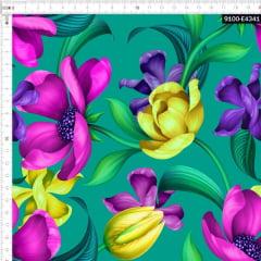 Tecido Tricoline Estampado Digital Floral Roxo Amarelo Verde 9100e4341