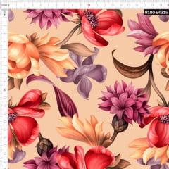 Tecido Tricoline Estampado Digital Floral Silvestre Pêssego 9100e4315