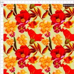 Tecido Tricoline Estampado Digital Floral Tropical  Amarelo 9100e4320