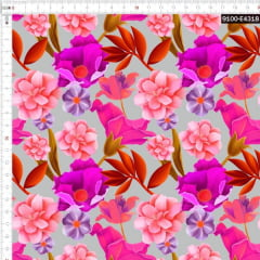 Tecido Tricoline Estampado Digital Floral Tropical Cinza  9100e4318