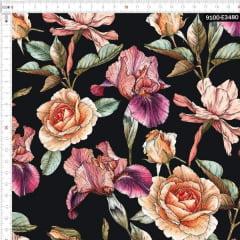 Tecido Tricoline Estampado Digital Flores Secas Fundo Preto 9100e3480