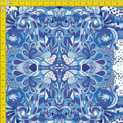 Tecido Tricoline Estampado Digital Geométrico Azul 9100e971
