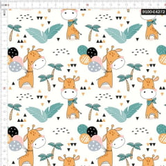 Tecido Tricoline Estampado Digital Girafa e Balões 9100e4272