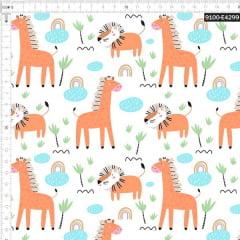 Tecido Tricoline Estampado Digital Girafa e Leão 9100e4299
