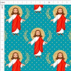 Tecido Tricoline Estampado Digital Jesus Tifanny 9100e4444