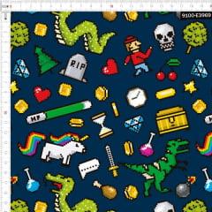 Tecido Tricoline Estampado Digital Jogos 8 Bits 9100e3969