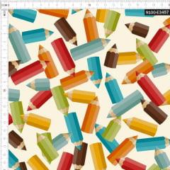 Tecido Tricoline Estampado Digital Lápis de Cores 9100e3457