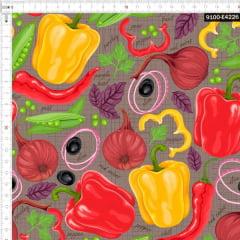 Tecido Tricoline Estampado Digital Legumes e Temperos 9100e4226