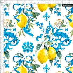 Tecido Tricoline Estampado Digital Limão Siciliano Arabesco Azul  9100e3477