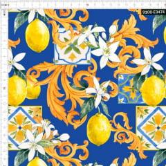 Tecido Tricoline Estampado Digital Limão Siciliano Arabesco Fundo Azul 9100e3474