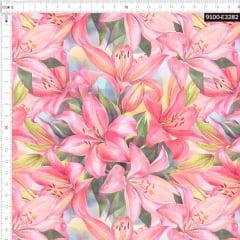 Tecido Tricoline Estampado Digital Lirios Rosa 9100e3282