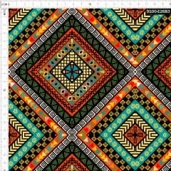 Tecido Tricoline Estampado Digital Geométrico Africano 9100e2683