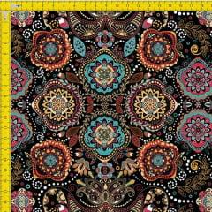 Tecido Tricoline Estampado Digital Arabesco e Mandalas 9100e969