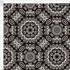 Tecido Tricoline Estampado Digital Mandalas Black & White 9100e2687