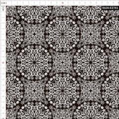 Tecido Tricoline Estampado Digital Mandalas Florais Black & White 9100e2741