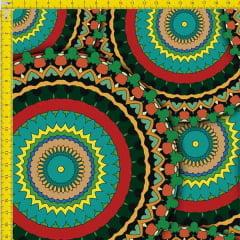 Tecido Tricoline Estampado Digital  Mandalas Verdes 9100e819