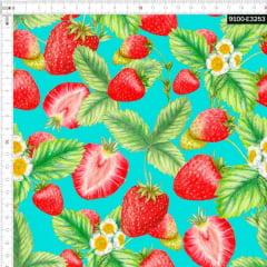 Tecido Tricoline Estampado Digital Morangos 9100e3253