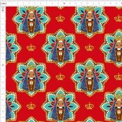Tecido Tricoline Estampado Digital Nossa Senhora Vermelho 9100e4416