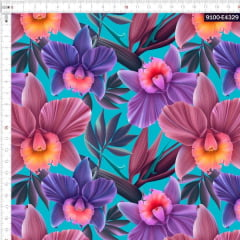 Tecido Tricoline Estampado Digital Orquídeas 9100e4329