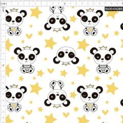 Tecido Tricoline Estampado Digital Panda Rei Fundo Branco 9100e4285