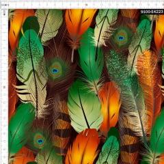 Tecido Tricoline Estampado Digital Penas de Pavão 9100e4223