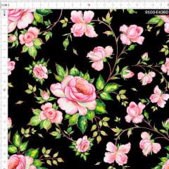 Tecido Tricoline Estampado Digital Rosa Elegantes Ramificada Preto 9100e4360